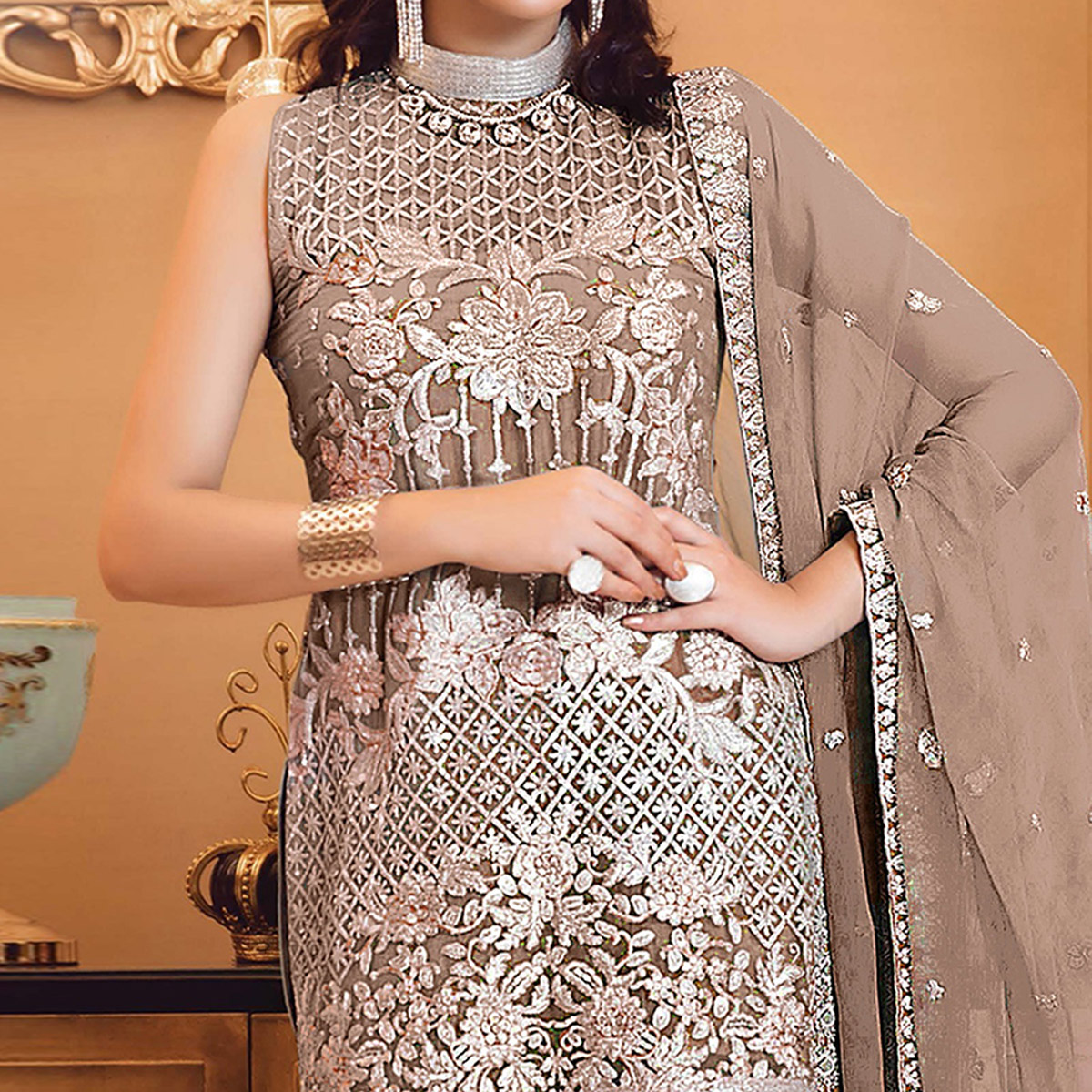 Fantastic Beige Colored Partywear Embroidered Faux Georgette Straight Suit
