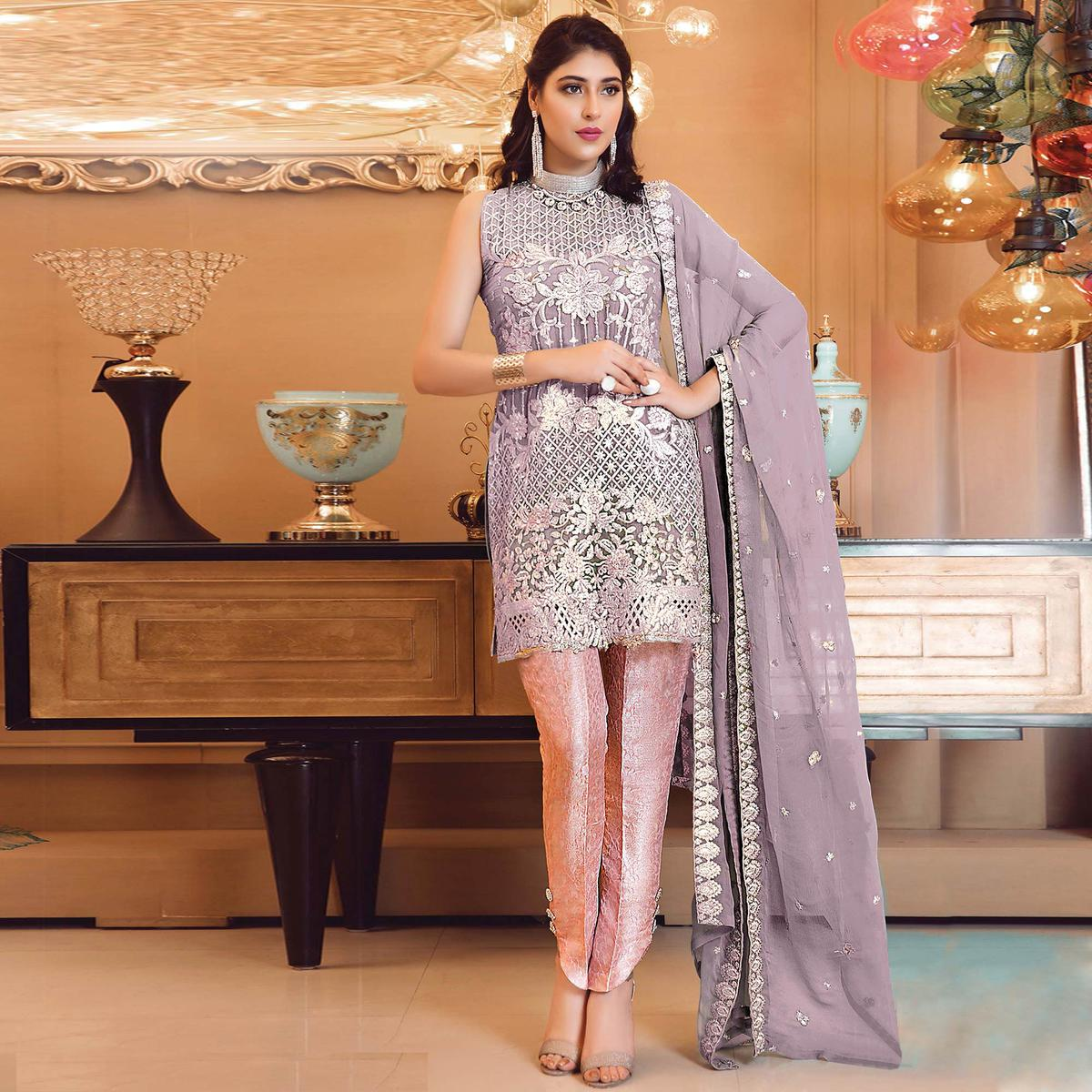 Gorgeous Purple Colored Partywear Embroidered Faux Georgette Straight Suit