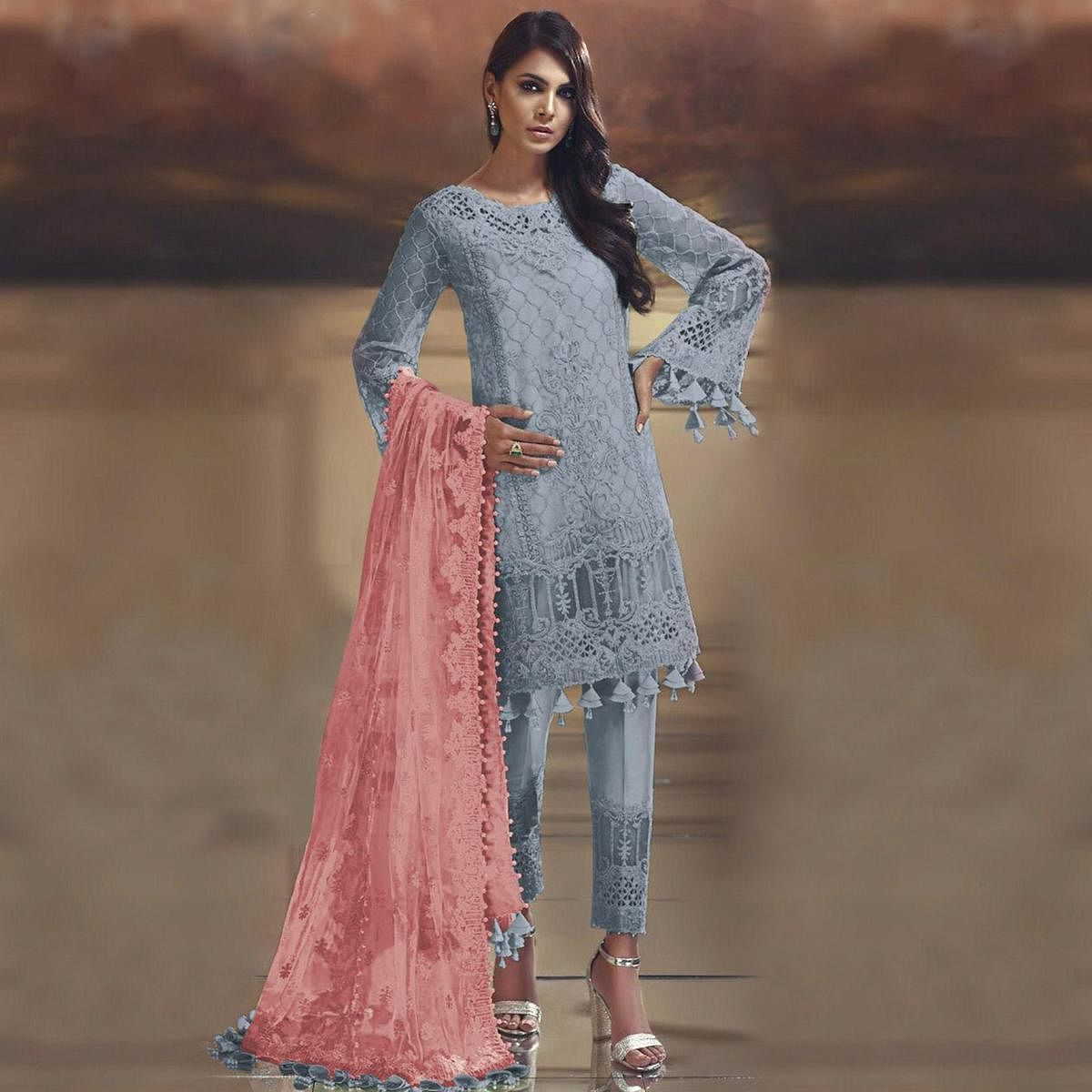 Impressive Grey Colored Partywear Embroidered Tissue Silk Straight Pakistani suit