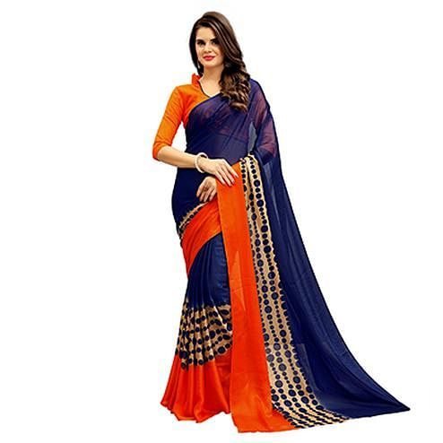 Mesmerising Navy-Orange Printed Imported Chiffon Saree