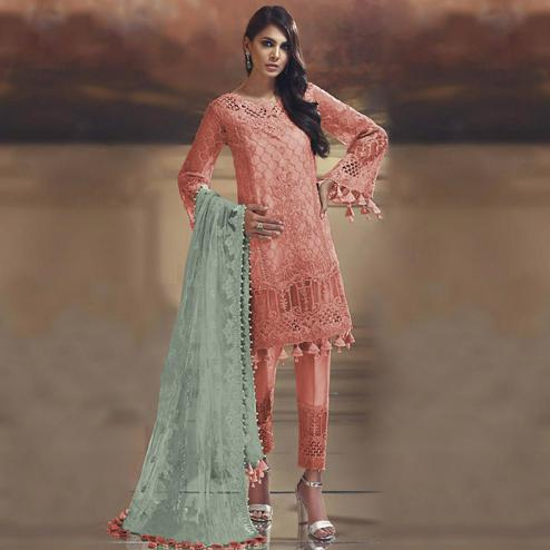 Mesmerising Orange Colored Partywear Embroidered Tissue Silk Straight suit