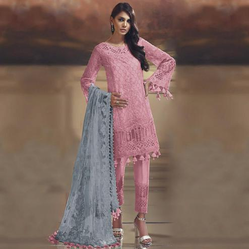 Pleasance Pink Colored Partywear Embroidered Tissue Silk Straight suit