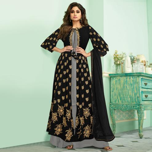 Breathtaking Black Colored Partywear Embroidered Faux Georgette Palazzo Suit