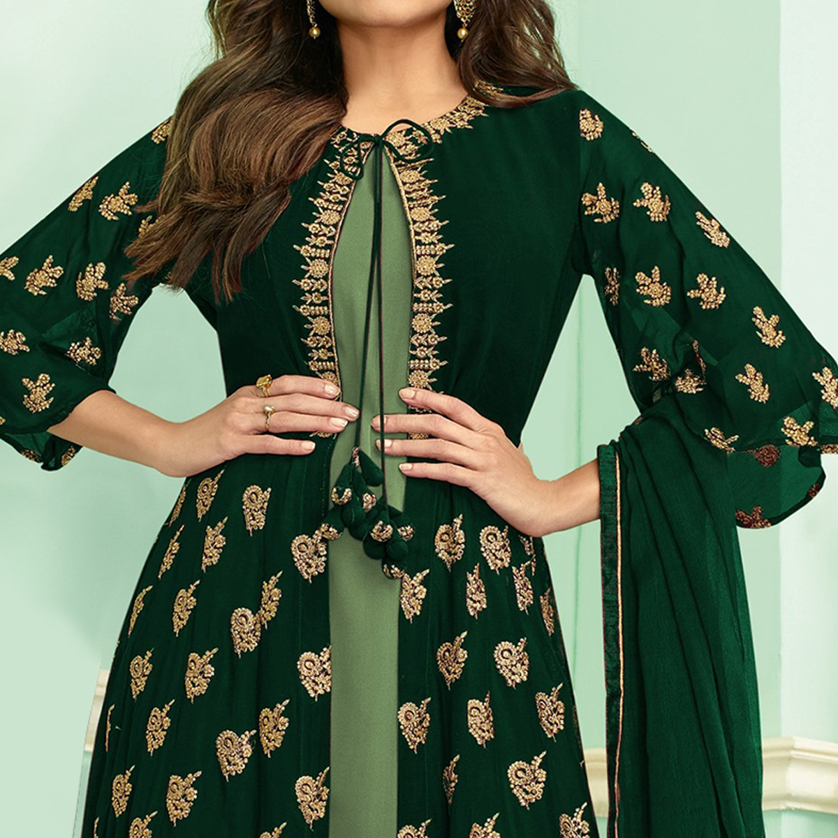 Ravishing Green Colored Partywear Embroidered Faux Georgette Palazzo Suit
