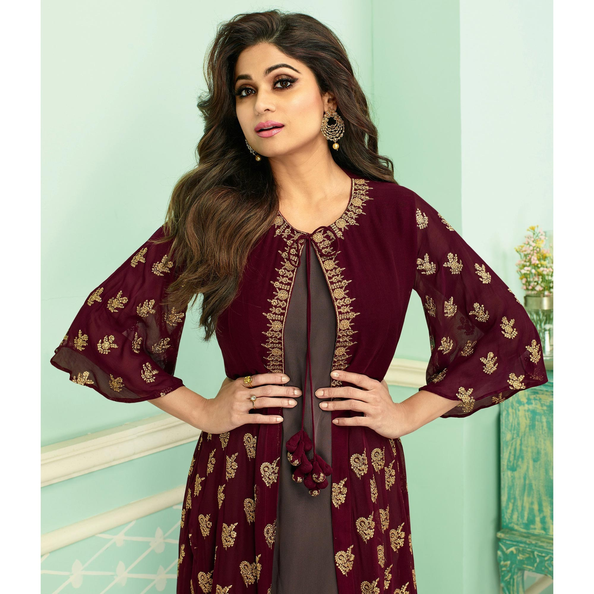 Staring Maroon Colored Partywear Embroidered Faux Georgette Palazzo Suit