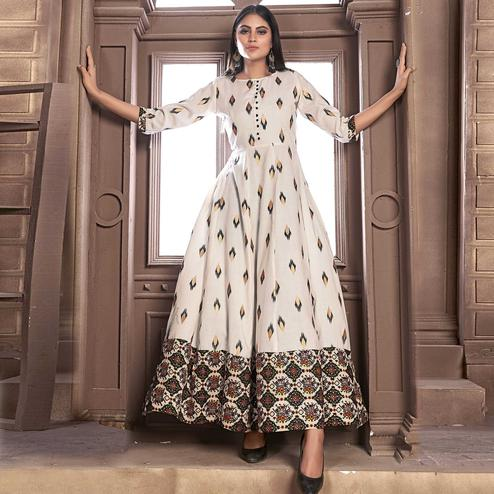 Sensational Offwhite Colored Partywear Printed Rayon Kurti