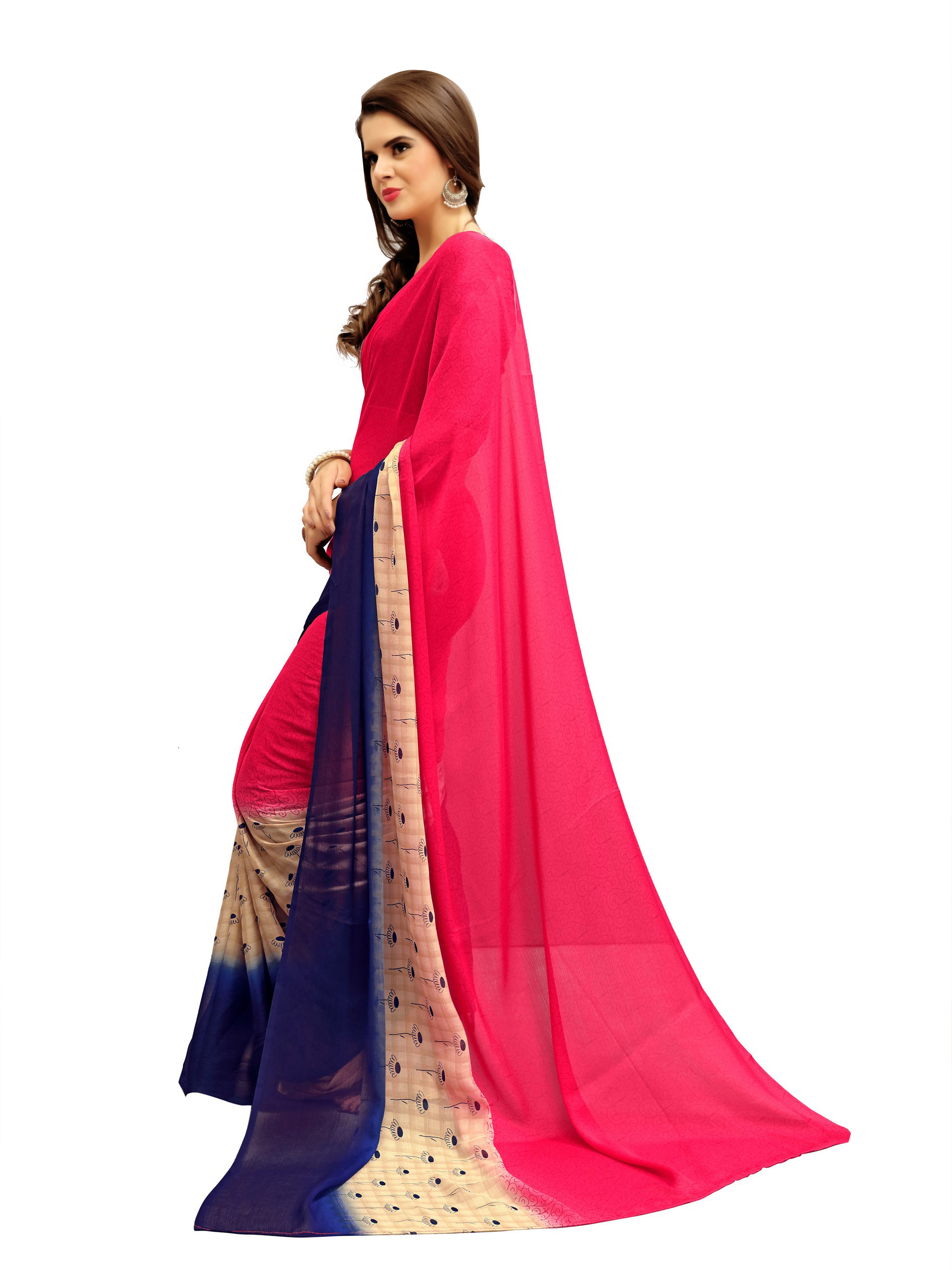 Dazzling Pink Printed Imported Chiffon Saree