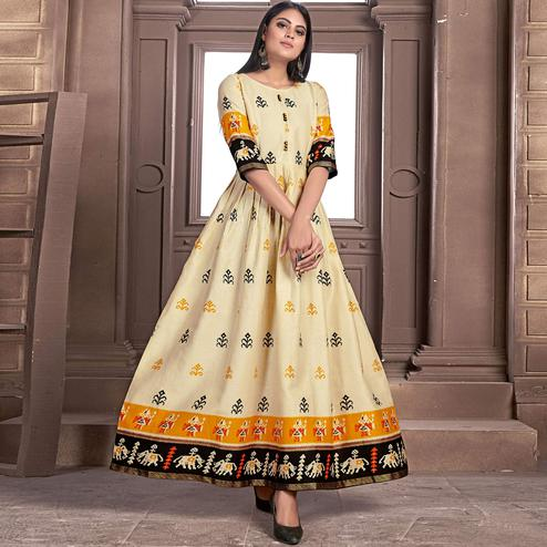 Flaunt Light Yellow Colored Partywear Printed Jam Satin Kurti