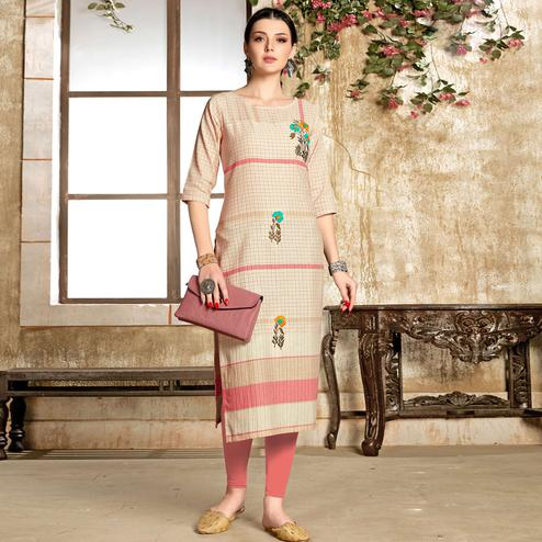 Gleaming Cream - Gajari Colored Casual Wear Embroidered Pure Cotton Kurti