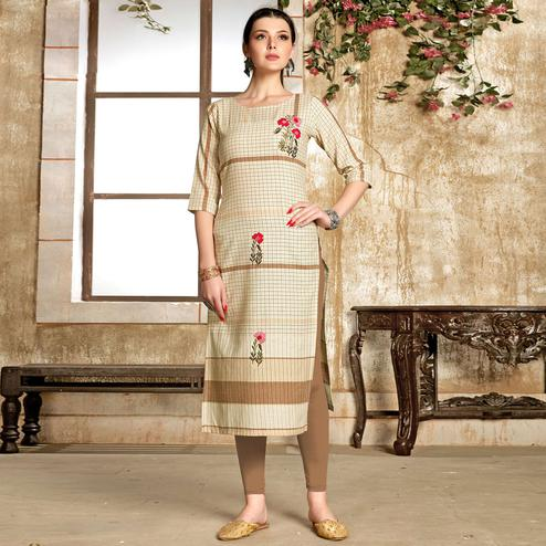 Mesmeric Cream - Chiku Colored Casual Wear Embroidered Pure Cotton Kurti