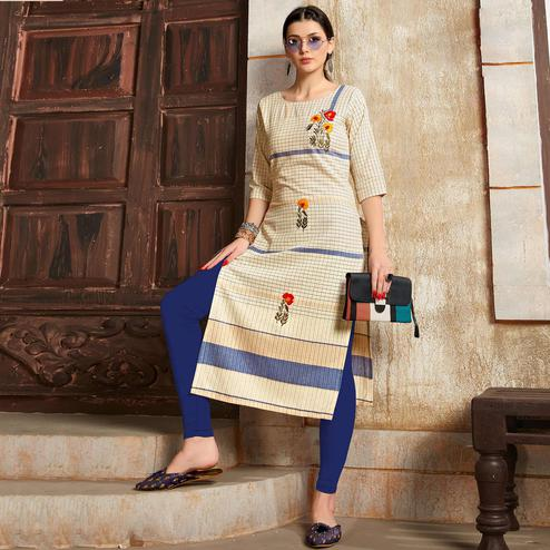 Unique Cream - Blue Colored Casual Wear Embroidered Pure Cotton Kurti