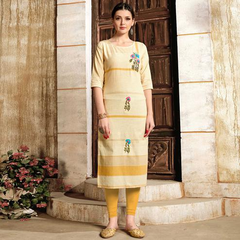Demanding Cream - Mustard Colored Casual Wear Embroidered Pure Cotton Kurti