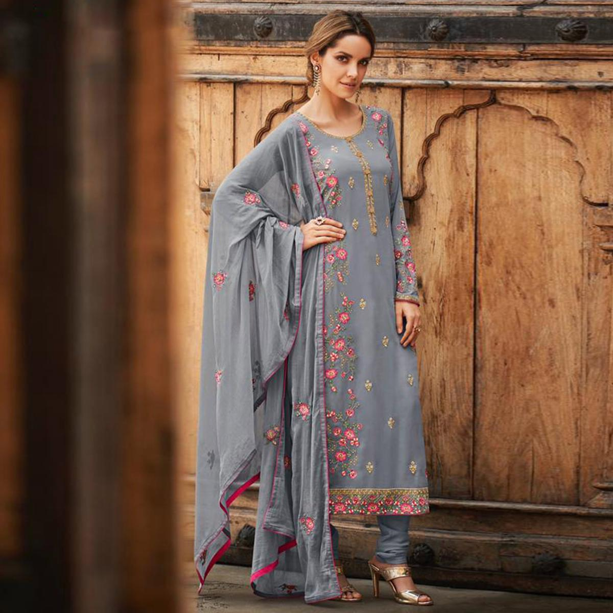 Refreshing Grey Colored Partywear Embroidered Faux georgette Salwar Suit