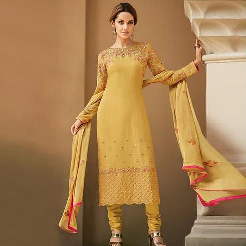 Magnetic Yellow Colored Partywear Embroidered Faux georgette Salwar Suit
