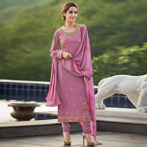Hypnotic Light Rani Pink Colored Partywear Embroidered Faux georgette Salwar Suit