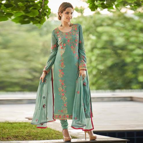 Excellent Green Colored Partywear Embroidered Faux georgette Salwar Suit