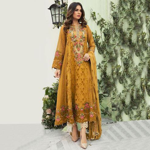 Jazzy Mustard Yellow Colored Designer Partwear Embroidered Faux Georgette Suit