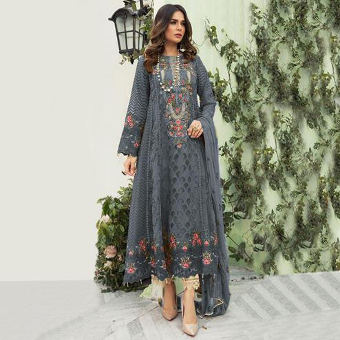 Engrossing Grey Colored Designer Partwear Embroidered Faux Georgette Suit