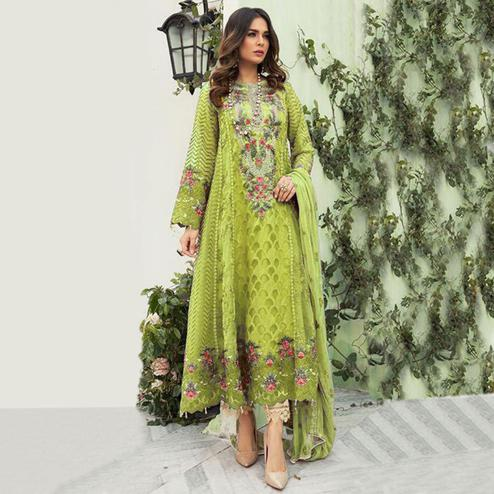 Captivating Green Colored Designer Partwear Embroidered Faux Georgette Suit