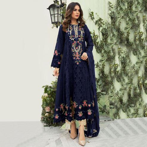 Innovative Blue Colored Designer Partwear Embroidered Faux Georgette Suit