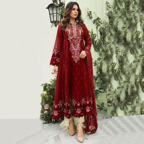 Eye-catching Maroon Colored Designer Partwear Embroidered Faux Georgette Suit