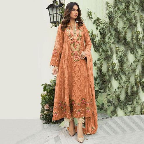 Amazing Orange Colored Designer Partwear Embroidered Faux Georgette Suit