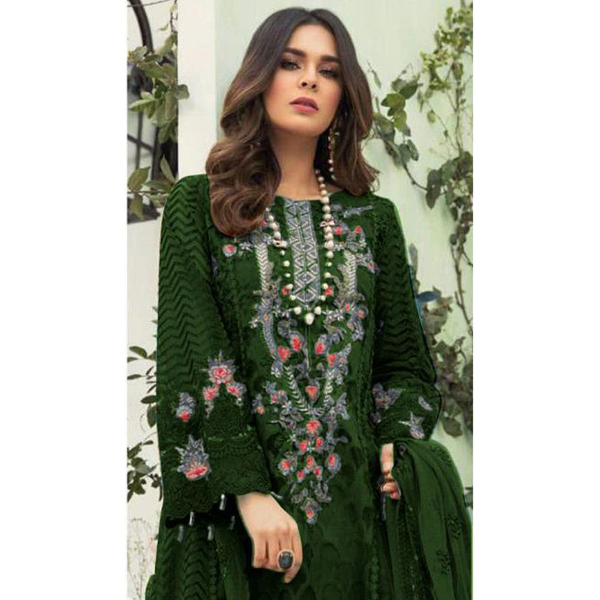 Gorgeous Green Colored Designer Partwear Embroidered Faux Georgette Suit