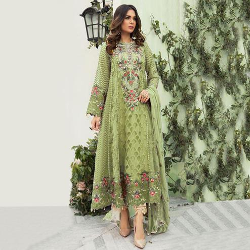 Blissful Light Olive Green Colored Designer Partwear Embroidered Faux Georgette Suit