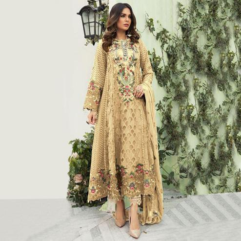 Ideal Beige Colored Designer Partwear Embroidered Faux Georgette Suit