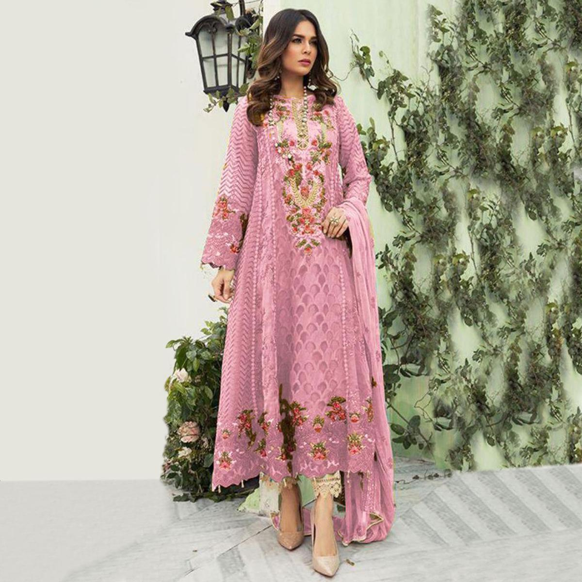 Imposing Light Pink Colored Designer Partwear Embroidered Faux Georgette Suit