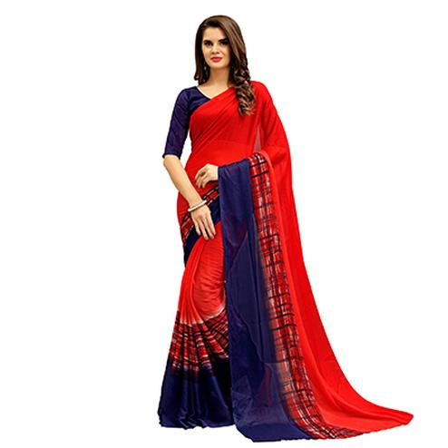 Graceful Red Printed Imported Chiffon Saree