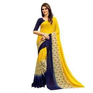 Beautiful Yellow Printed Imported Chiffon Saree