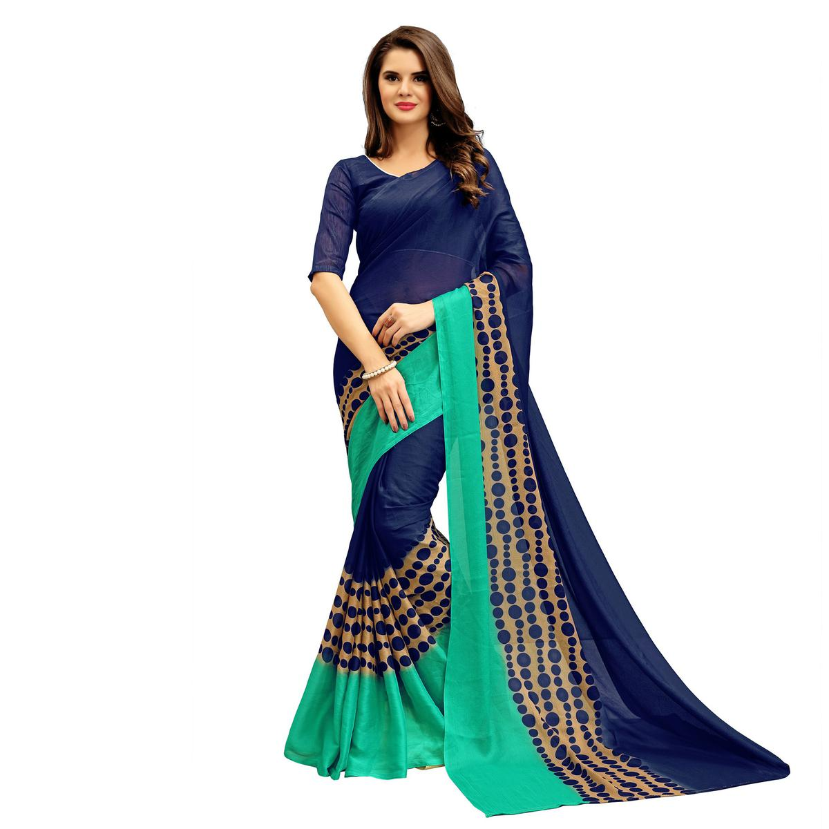 Adorable Navy Printed Imported Chiffon Saree