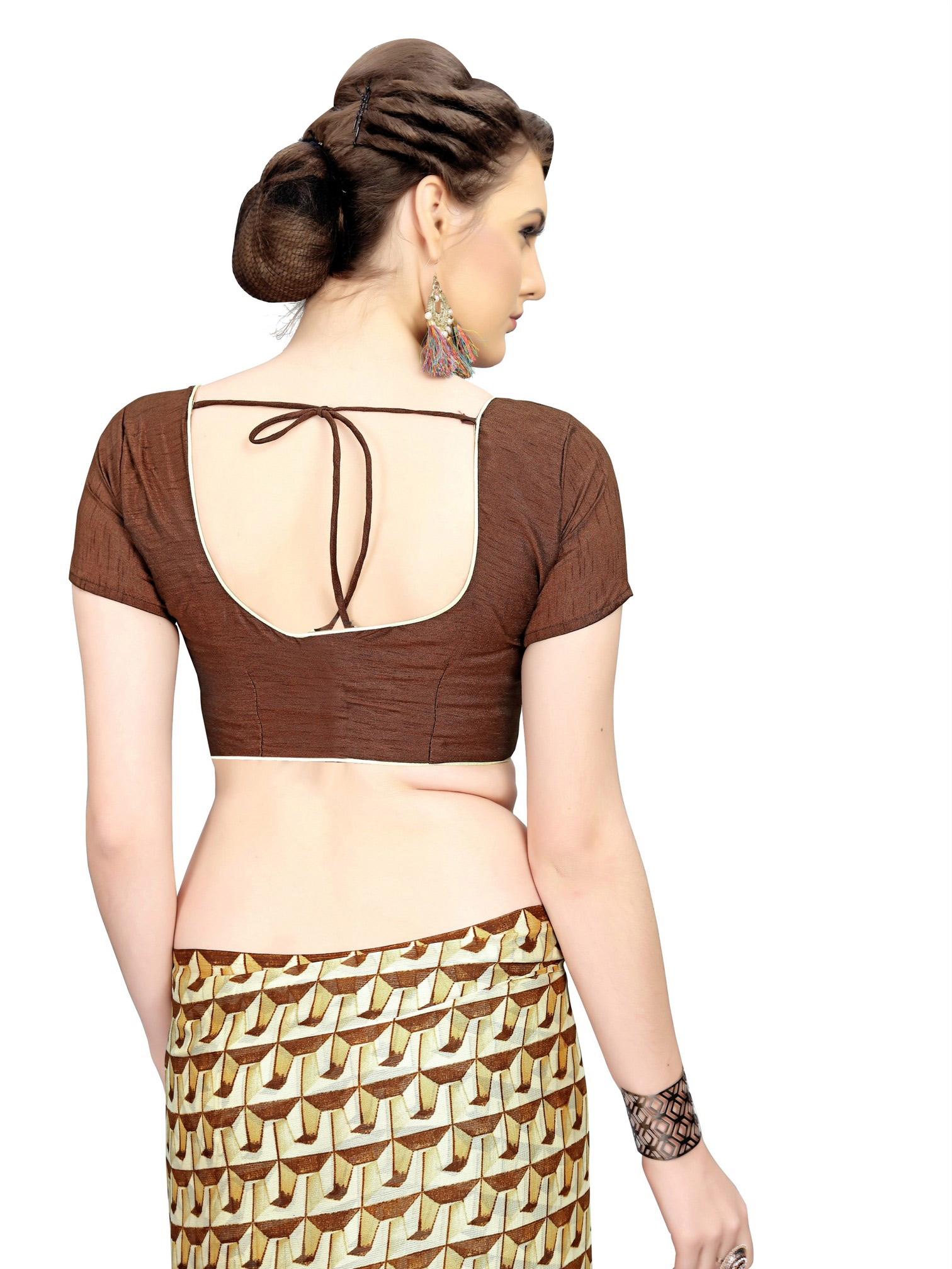Graceful Brown Printed Imported Chiffon Saree