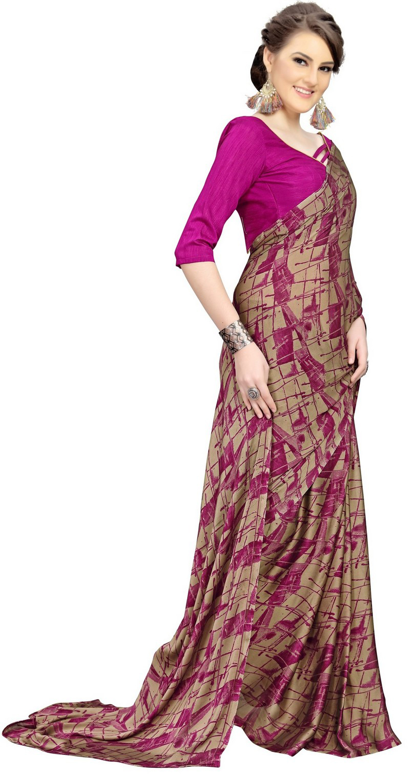 Delightful Pink Printed Imported Chiffon Saree