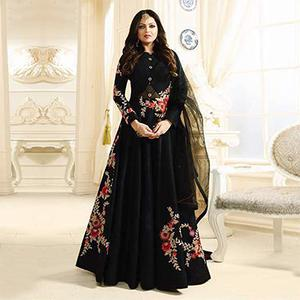 Mesmerising Black Designer Partywear Embroidered Banglori Silk Anarkali Suit