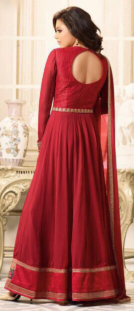 Charming Red Designer Partywear Embroidered Georgette Anarkali Suit