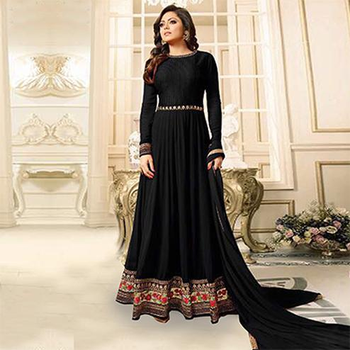 Hot Black Designer Partywear Embroidered Georgette Anarkali Suit
