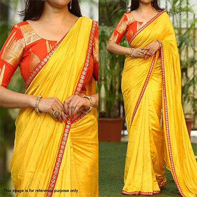 Stunning Yellow Designer Paper Silk Saree