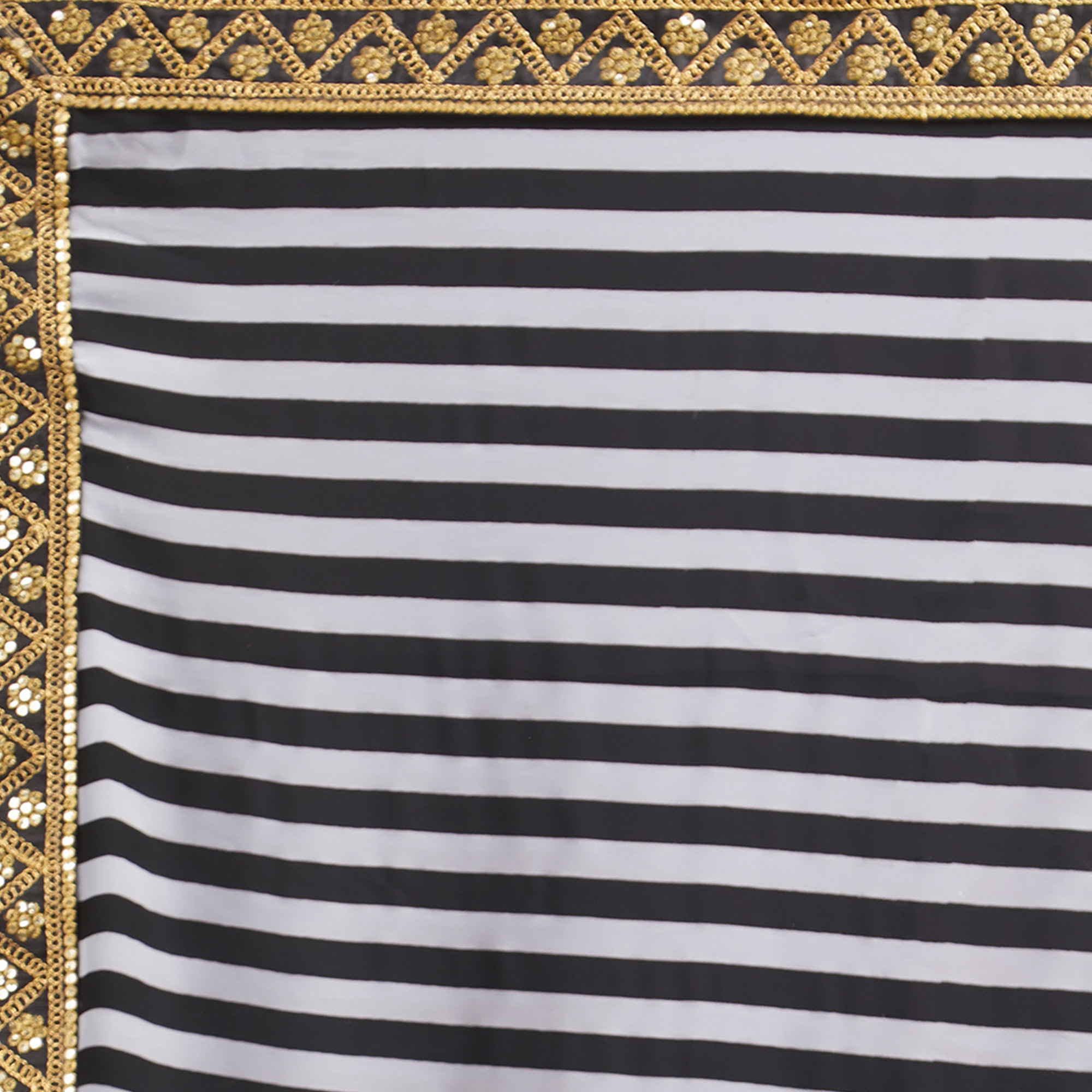 Gorgeous Black-White Striped Designer Georgette Saree