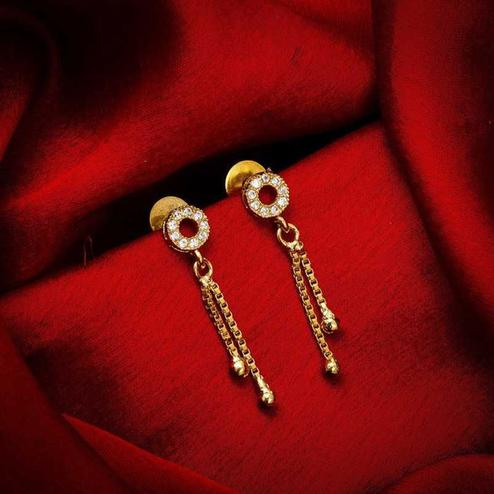 Gleaming Gold Plated American Diamond Alloy Earrings