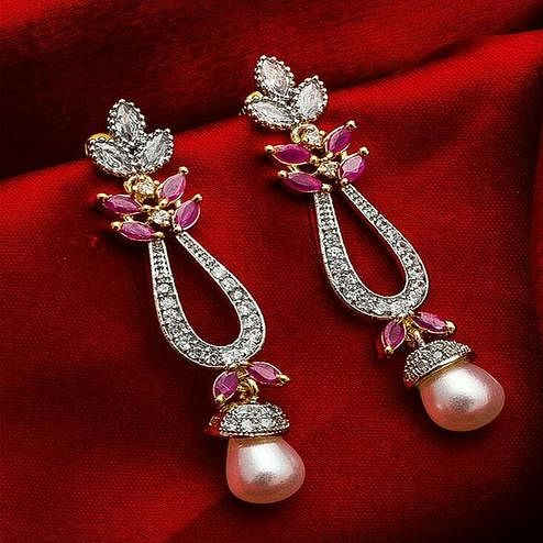 Magnetic Gold Plated American Diamond Alloy Earrings