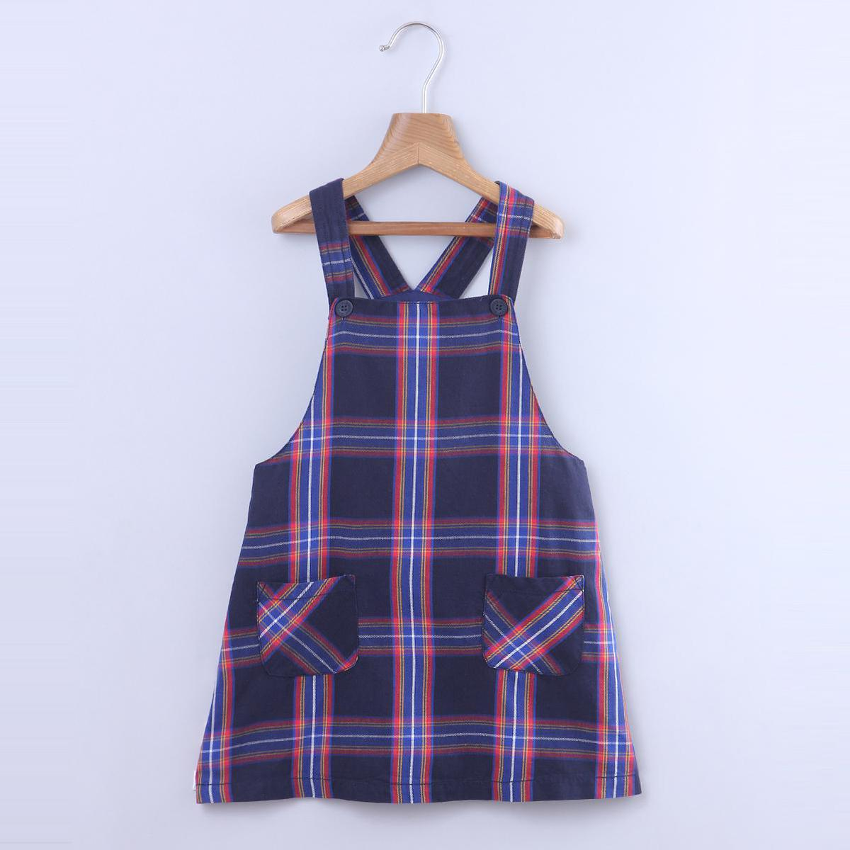 Beebay - Blue Colored Bias Pocket Check Pinafore Cotton Dress For Kids Girls