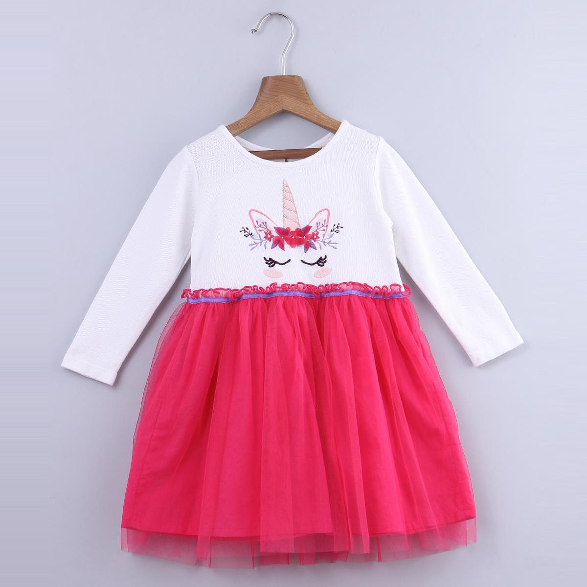 Beebay - Pink Colored Unicorn Embroidery Tutu Cotton Dress For Infants Girls