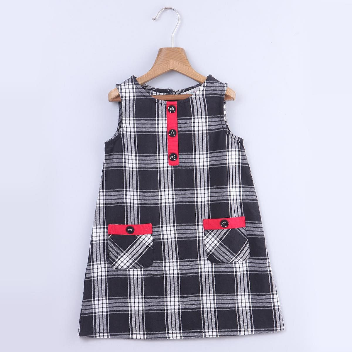 Beebay - Black Colored Y/D Check Pinafore Cotton Dress For Kids Girls