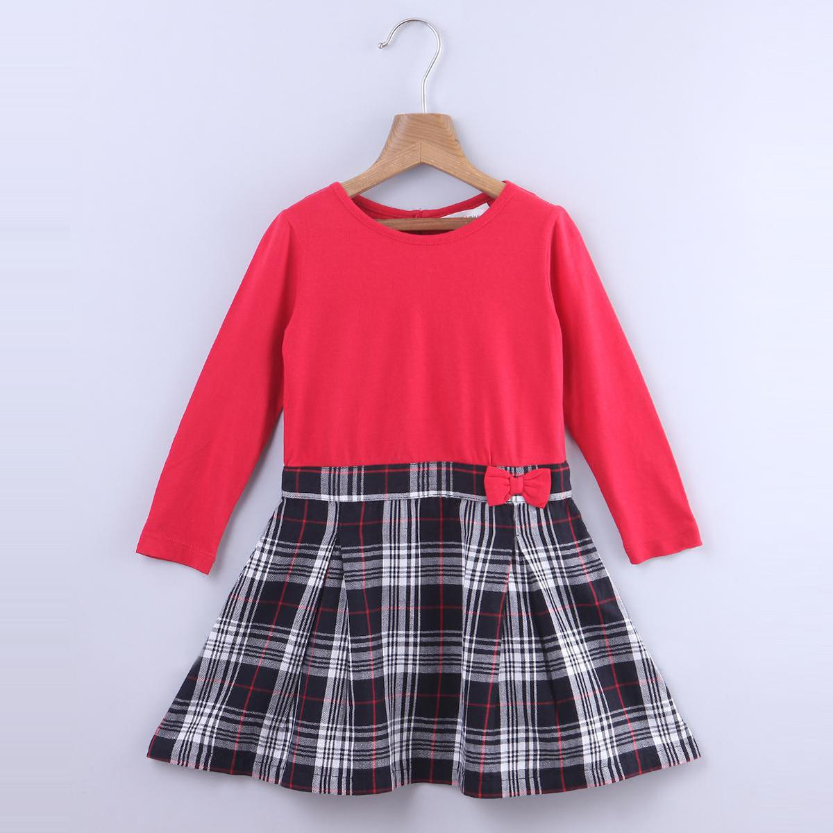Beebay - Red Colored Pleated Mix-media Cotton Dress For Kids Girls