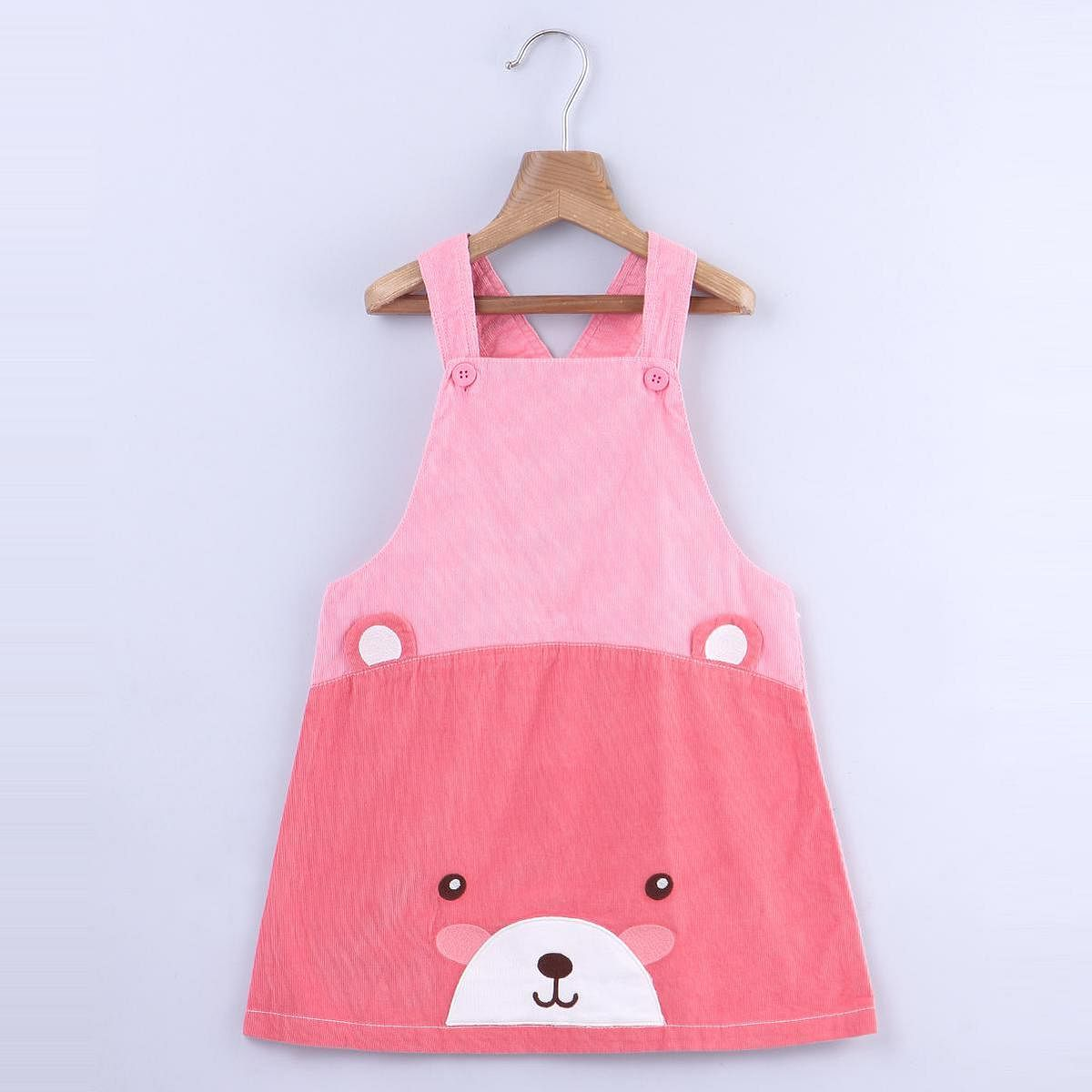 Beebay - Pink Colored Bear Face Corduroy Pinafore Cotton Dress For Infants Girls