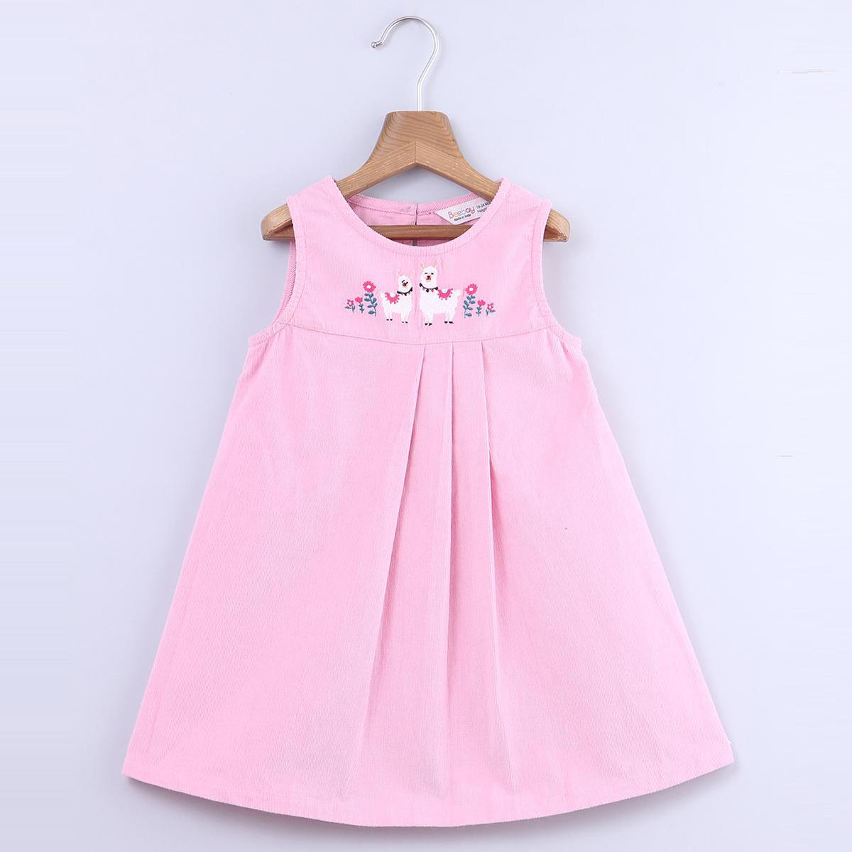Beebay - Pink Colored Llama Embroidery Corduroy Cotton Dress For Infants Girls