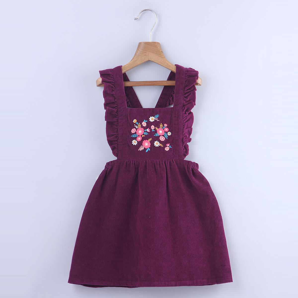Beebay - Purple Colored Floral Embroidered Ruffle Pinafore Cotton Dress For Infants Girls