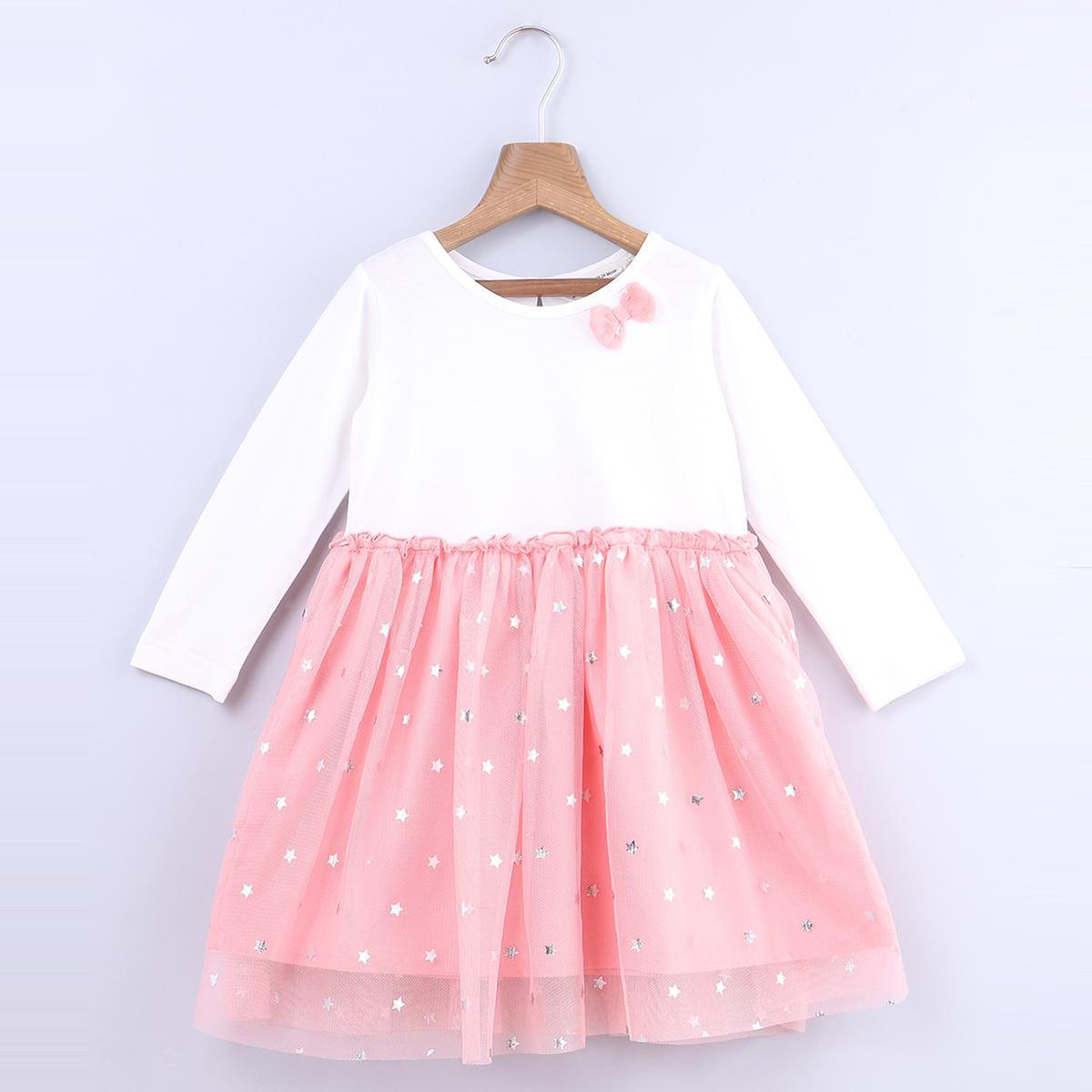 Beebay - Peach Colored Star Foil Print Cotton Dress For Infants Girls